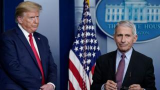 President Donald Trump looks at Dr Anthony Fauci as he walks off the podium, 22 April 2020