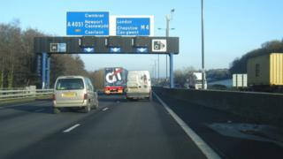 The M4 Eastbound around Newport towards the often congested Malpas Straight before the Brynglas Tunnels