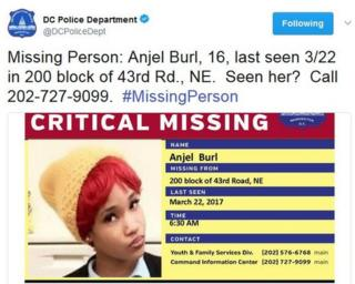 """""""Missing person: Angel Burl, 16"""""""