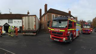 The scene of the lorry at Streatley