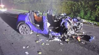 The wreckage of the Mini Countryman being driven by Benjamin Bosden