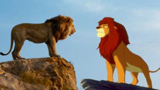 Stills from the new and old Lion King films