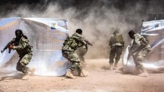 مانور نظامی نیروهای سوری تحت حمایت ترکیه در شمال سوریه