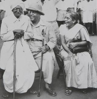 Dr Ambedkar with his second wife Mai Ambedkar and activist Rao Bahadur CK Bole (left) in Mumbai