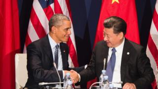 Obama and Xi shake hands