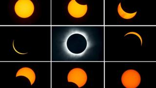 Time lapse of total eclipse.