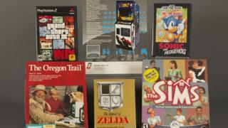 Space Invaders, Sonic the Hedgehog, The Legend of Zelda, The Oregon Trail, Grand Theft Auto III, and The Sims.