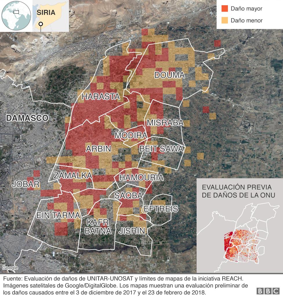 Mapa que muestra los niveles de destrucción en Guta Oriental, Siria, desde diciembre de 2017 hasta febrero de 2018