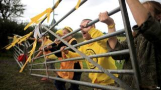 Activists at an anti-fracking camp near Blackpool