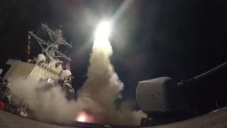 Handout photo of the USS Porter launching a missile strike in the Mediterranean (7 April 2017)