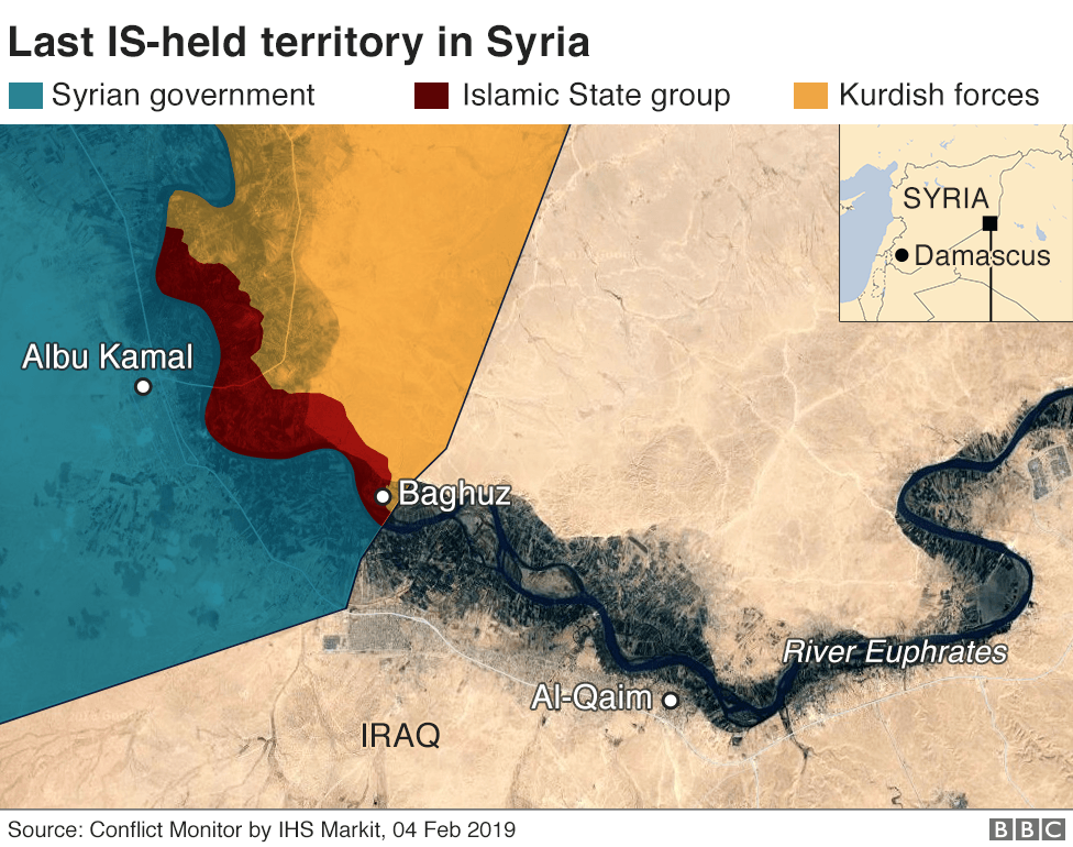 Map showing control of Syria around town of Albu Kamal (7 February 2019)