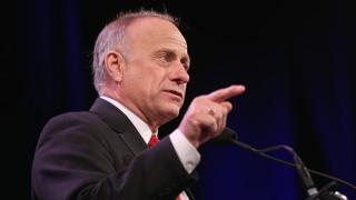 Iowa congressman Steve King speaks to guests at the Iowa Freedom Summit in Des Moines, Iowa