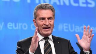 Avrupa Birliği (AB) Komisyonunun Bütçe ve İnsan Kaynaklarından Sorumlu Üyesi Günther Oettinger