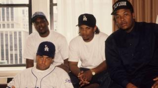 (L-R) Rappers MC Ren, DJ Yella, Eazy-E and Dr. Dre of the rap group NWA pose for a portrait in 1991 in New York