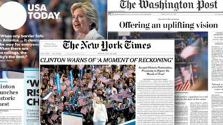US newspaper front pages cover Hillary Clinton's nomination speech on 28 July 2016.