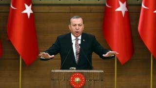 This file photo taken on February 10, 2016 shows Turkey's President Recep Tayyip Erdogan