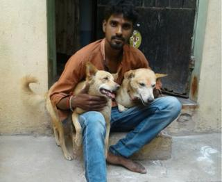S Raman with the dogs