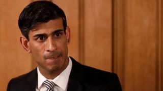 Chancellor of the Exchequer Rishi Sunak speaks during a daily press conference at 10 Downing Street.