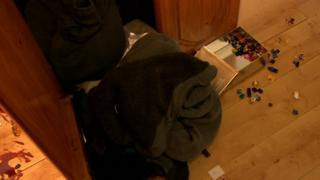 Ransacked room at house in Ballynahinch