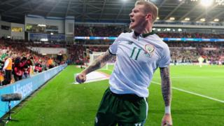 James McClean playing for the Republic of Ireland