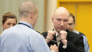 Anders Behring Breivik in court in Oslo, Norway