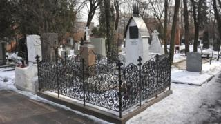 The grave of the writer Anton Chekhov in Novodevichy Cemetery, Moscow.
