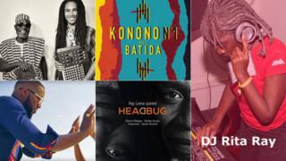 Top: artwork for Kondi Band (L) and Konono No 1 meets Batida (M). Bottom: Tay Grin (L) and Headbug album artwork (M), Right: DJ Rita Ray