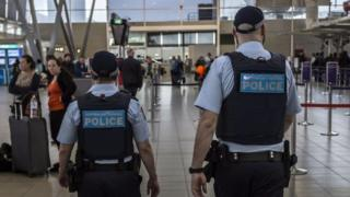 Australia federal police in airport
