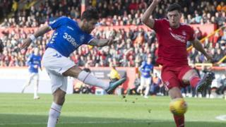 Daniel Candeias (left) during the William Hill Scottish Cup quarter final match at Pittodrie Stadium, Aberdeen