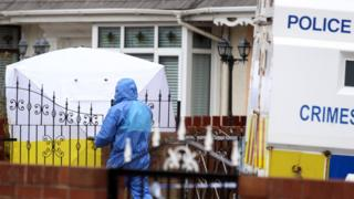 Forensic teams at the scene of the killing on Etna Drive on Saturday