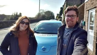 The Snowdens with their Nissan Leaf