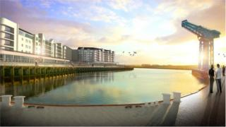 CGI of John Brown's shipyard development