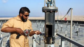 Industria petrolera en Libia.