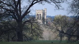St Mary's Church taken from Woburn Abbey Deer Park in Bedfordshire