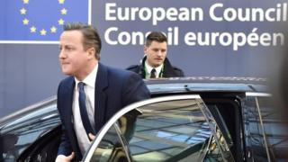 David Cameron arriving at Brussels summit