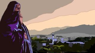 A drawing of a woman in front of the Islamabad cityscape