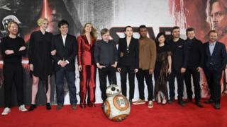 Rian Johnson (far right) with cast members from The Last Jedi
