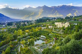View of gardens with mountains in the background