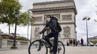 Champs Elysees near the Arc de Triomphe, in Paris, France, 28 August 2020