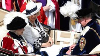 The Duchess of Cornwall and the Prince of Wales joined the Queen in her carriage