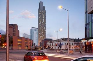 Architect's impression of proposed 42-storey building in Cardiff