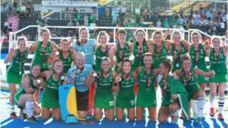 The Irish women's hockey squad celebrate silver at the World Cup