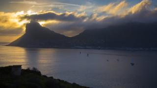 Yachts pictured at sunset off the Cape Peninsula, South Africa - Wednesday 26 October 2016