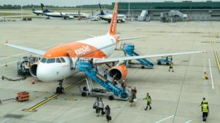 Easyjet plane at Southend Airport