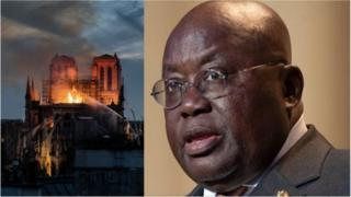 Notre Dame (left) and Nana Akufo-Addo (right)
