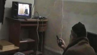 This undated image from video, seized from the walled compound of al-Qaida leader Osama bin Laden in Abbottabad, Pakistan, and released by the U.S. Department of Defense Saturday, May 7, 2011, shows a man, identified as Osama bin Laden, watching President Barack Obama on his television.