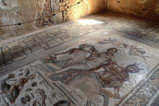 Mosaic from the House of Amphitrite in Bulla Regia, the archaeological site in north-western Tunisia, a former Roman city. It is noted for its Hadrianic-era semi-subterranean housing, a protection from the fierce heat and effects of the sun ,on September 21, 2018 in Jendouba, Tunisia.