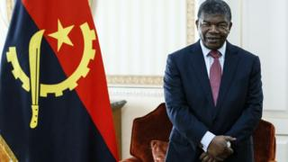 Angola's President Joao Lourenco during a meeting with the minister o foreign affairs of Russia at the Presidential Palace.