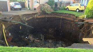 'Sinkhole' on Fontmell Close, St Albans