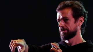 Technology Twitter CEO and co-founder Jack Dorsey gestures while interacting with students at the Indian Institute of Technology, New Delhi.